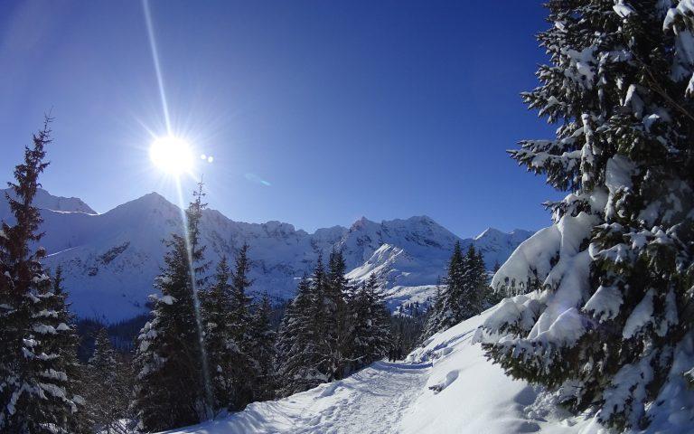 Słońce pięknie rozświetlało szczyty otaczające Dolinę Gąsienicową