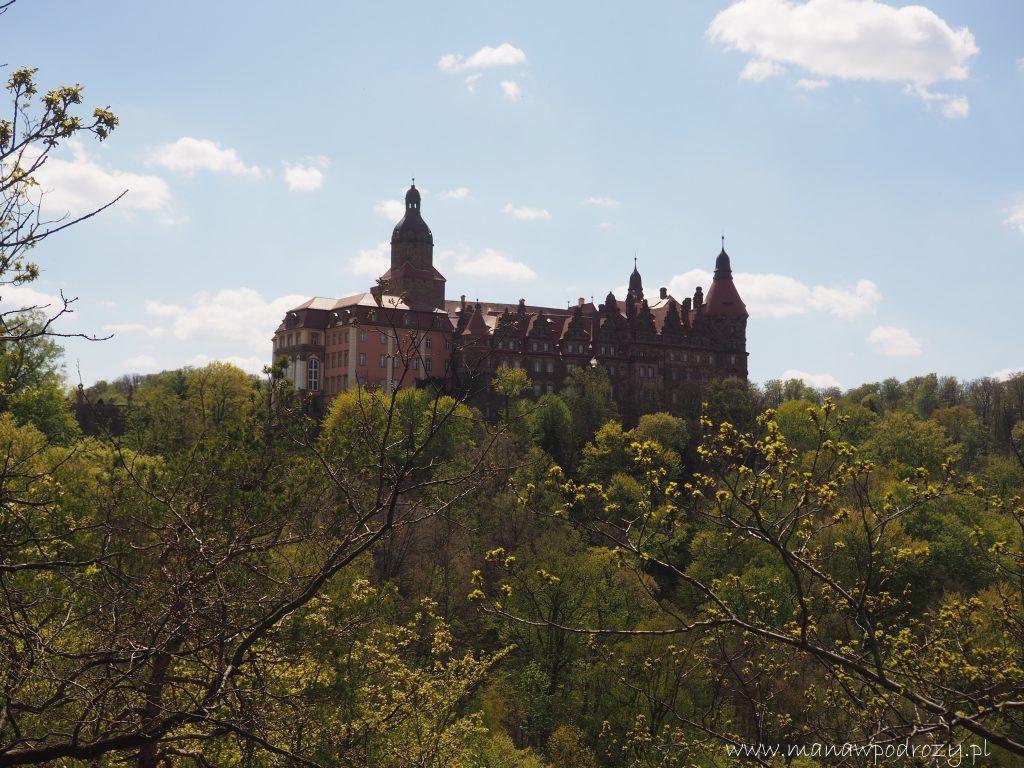 Panorama na wschodnią fasadę Zamku Książ