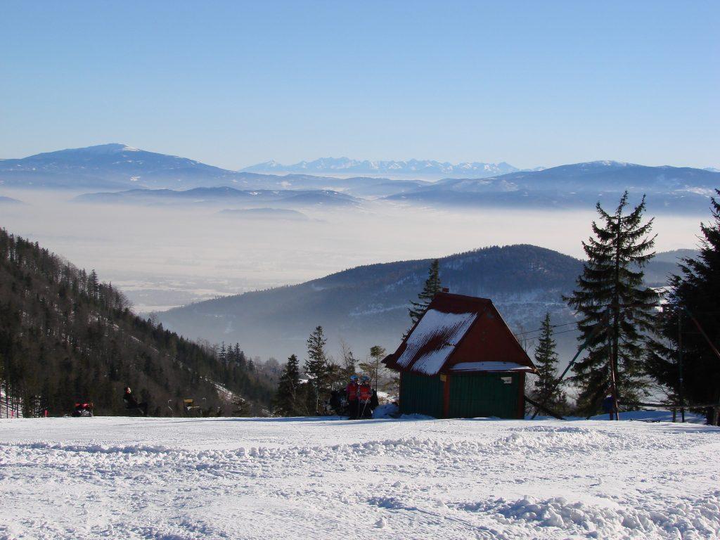 Widok z Klimczoka na Babią Górę, Tatry i Pilsko