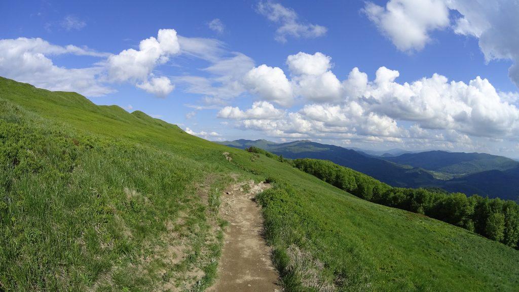 Zejście do Ustrzyk Górnych z widoiem na Szeroki Wierch i Tarnicę
