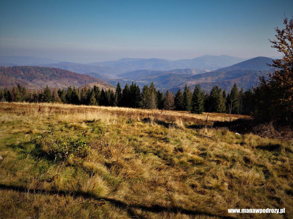 Widoki z Bendoszki Wielkiej na szczyty Beskidu Śląskiego