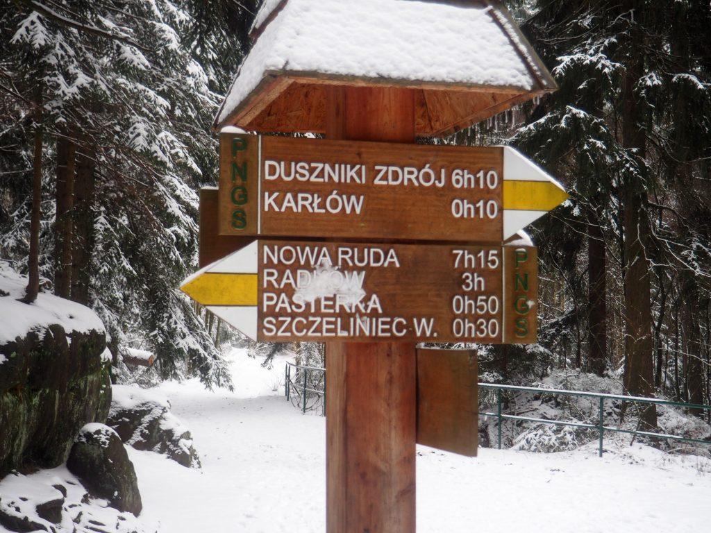 Początek i koniec szlaku na Szczeliniec
