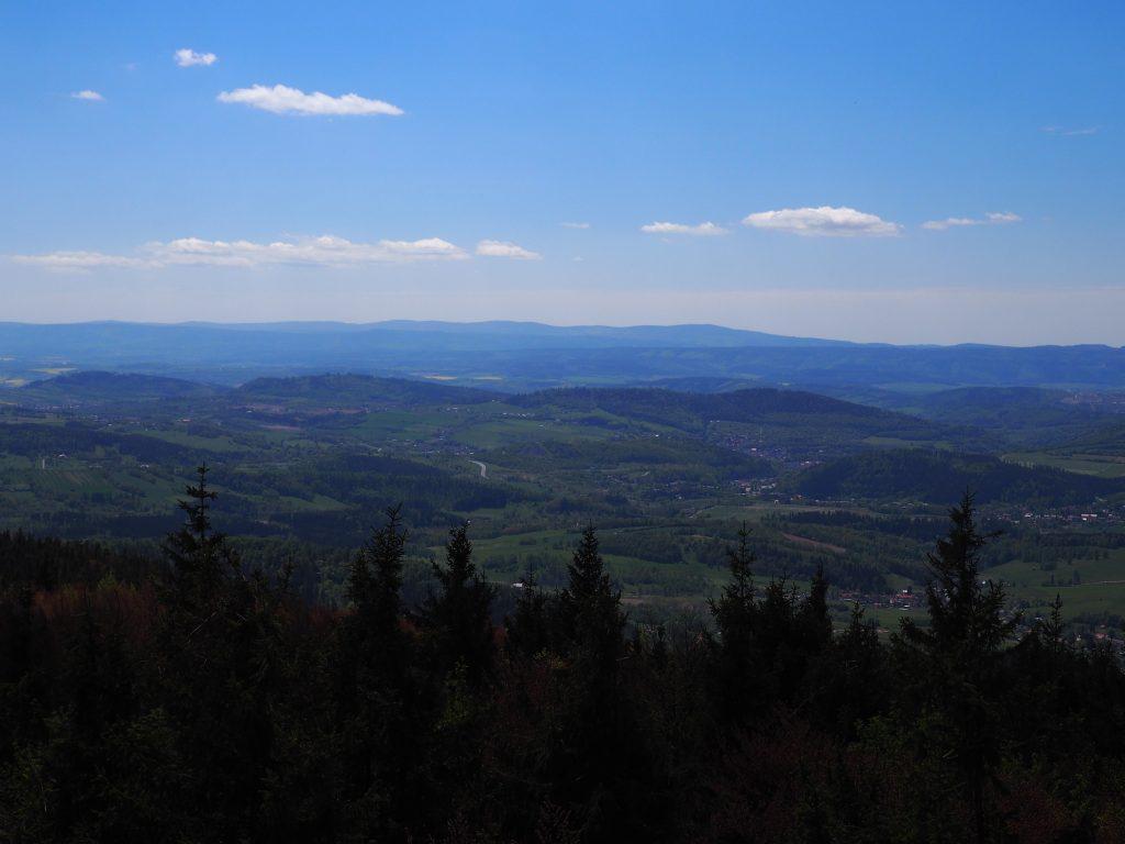 Na pierwszym planie Wzgórza Włodzickie, za nimi Góry Orlickie