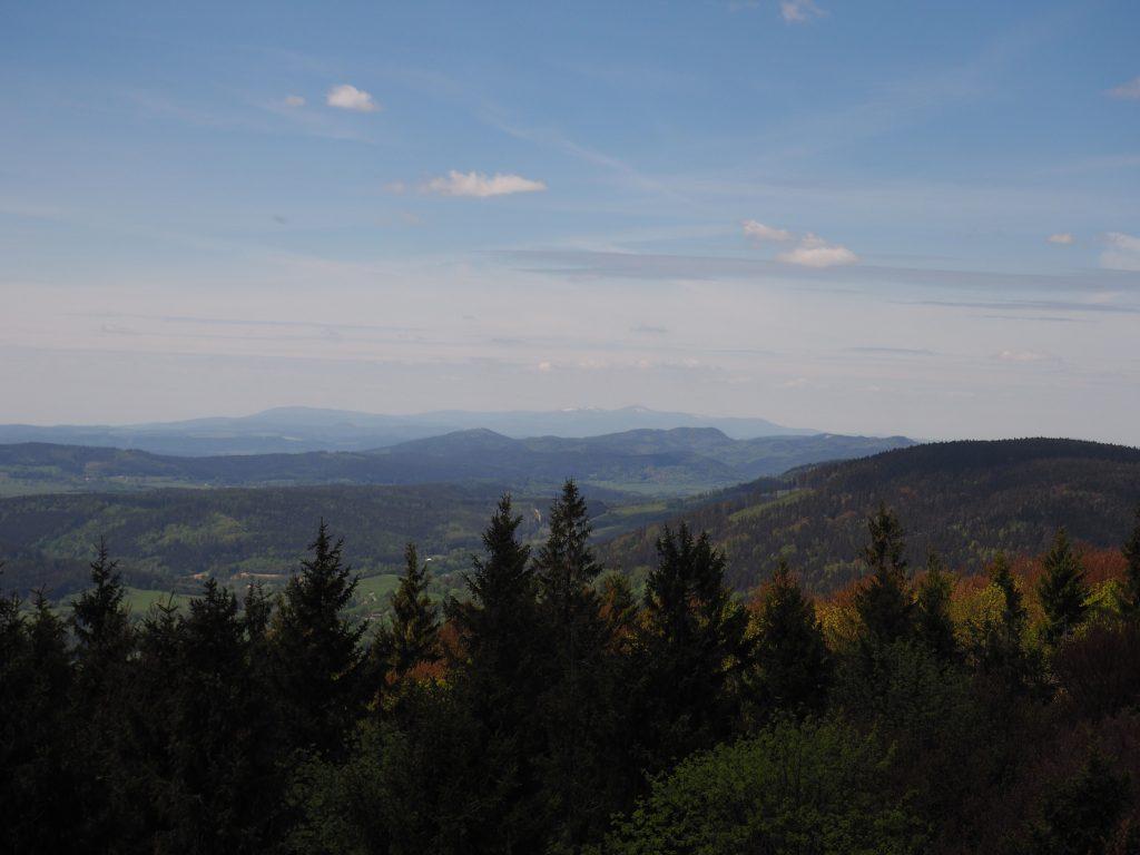 Góry Suche, a w tle Karkonosze