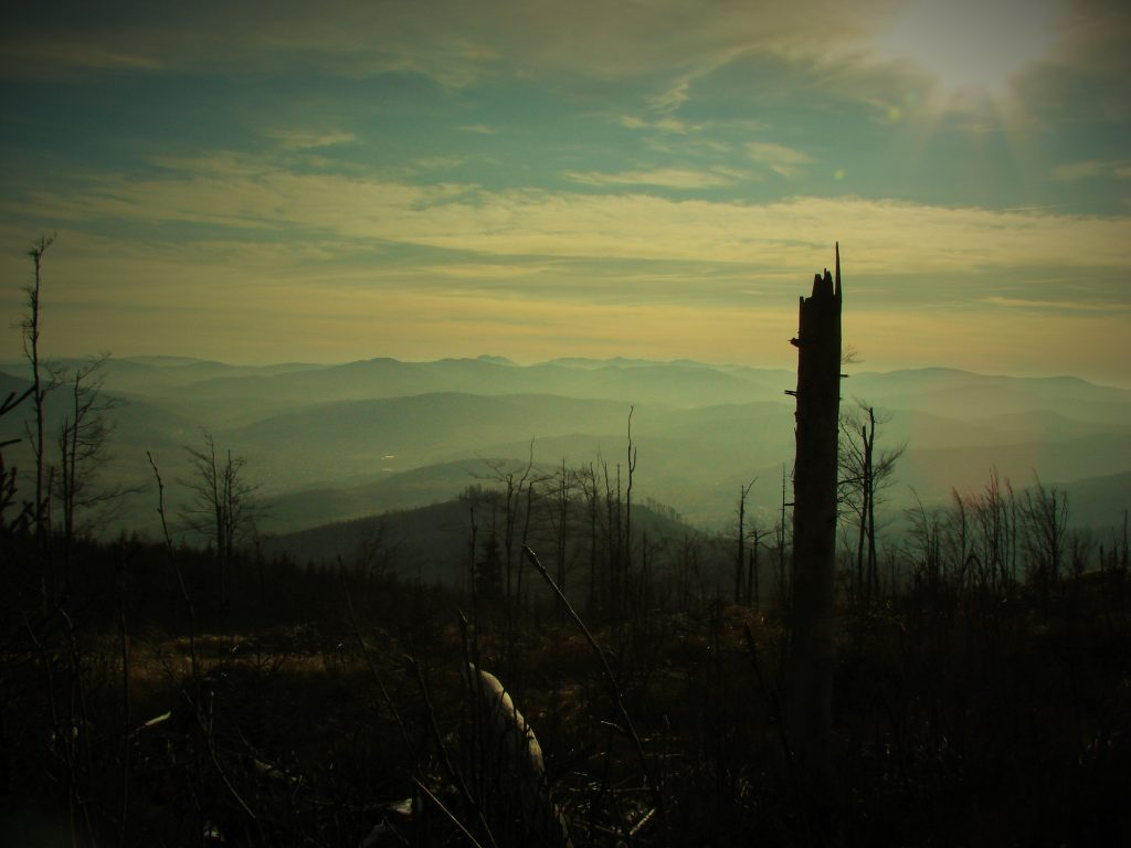 Malownicze krajobrazy z Magurki Radziechowskiej o zachodzie Słońca
