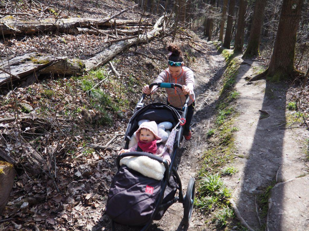 Wędrując przez Wąwóz Myśliborski można trafić na strome podejścia